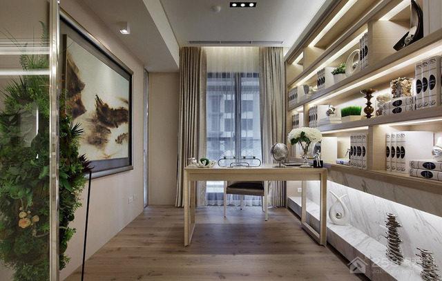 时尚欧式风格整体书柜设计图片