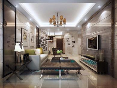 上城美域现代简约风格二居装修效果图