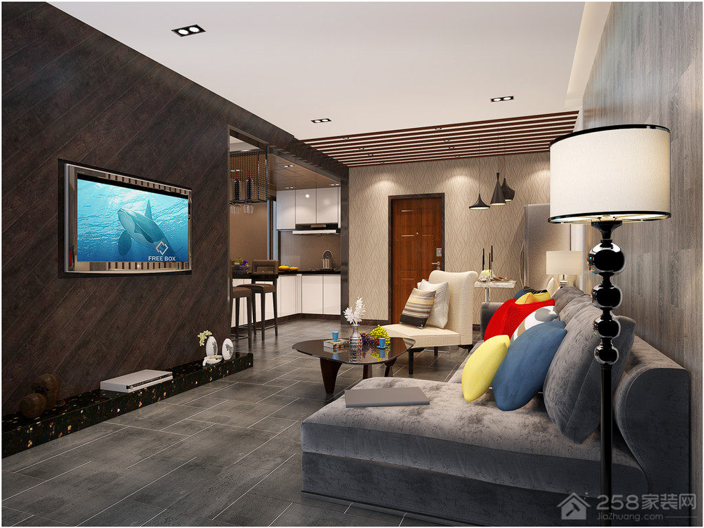 泰达新河湾现代简约风格三居装修效果图