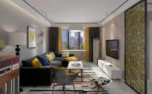 齐悦国际135㎡现代简约风格三居家装效果图