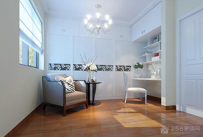 白色简约风格书桌书柜组合图片