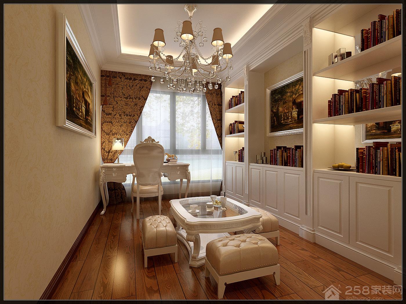 欧式白色奢华整体书柜效果图