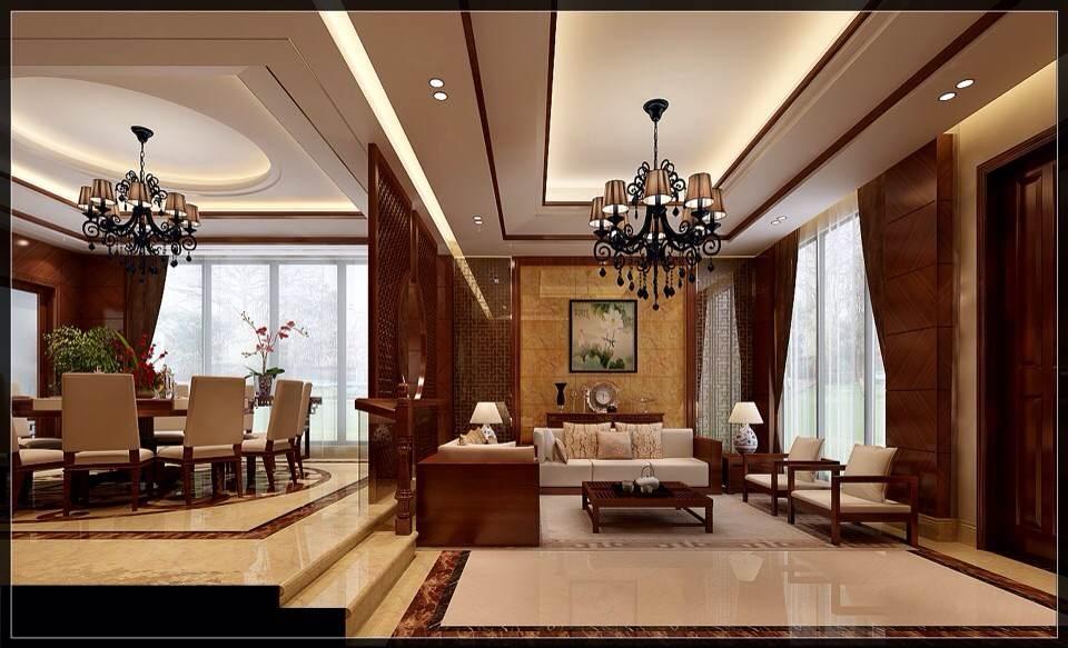 星汇金沙中式风格三居家装效果图