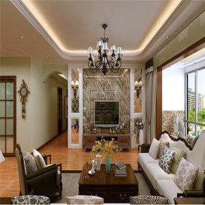 泰和广场136㎡美式风格三居家装效果图