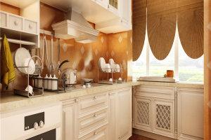简欧厨房米色大理石橱柜台面效果图