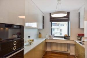 混搭设计厨房白色石英石台面效果图