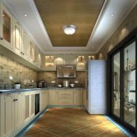 美式风格L型大厨房装修效果图