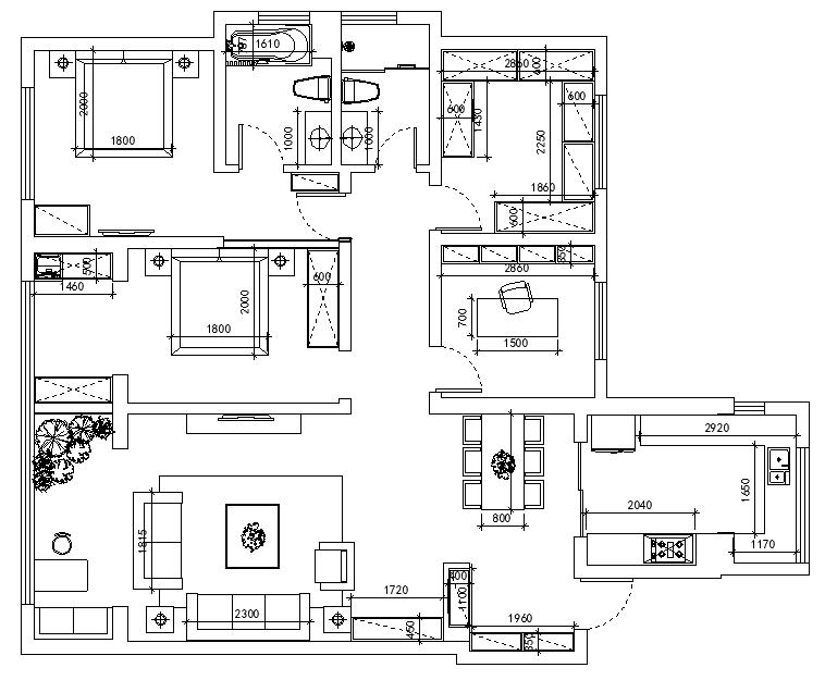 叶公馆欧式风格三居家装效果图
