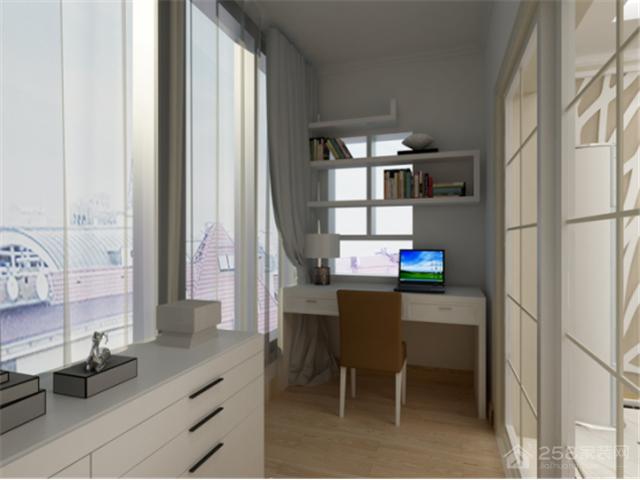 白色简约书桌书柜组合装修效果图