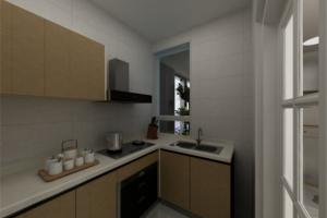 厨房白色大理石橱柜台面效果图