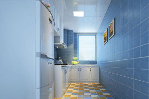 地中海风格L型厨房蓝色背景墙效果图