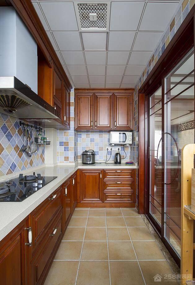 中式L型厨房石英石橱柜台面效果图