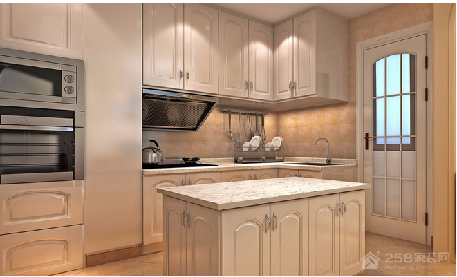 欧式开放厨房中岛橱柜石英石台面效果图