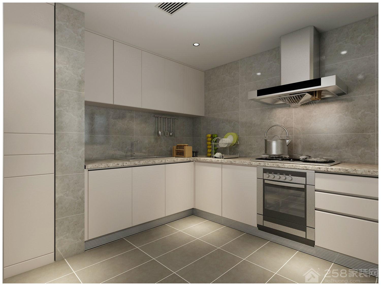 现代简约宽敞L型厨房装修效果图