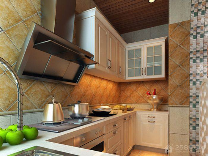 地中海风格L型小厨房装修效果图