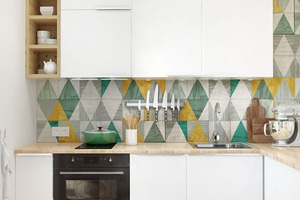 北欧风L型厨房白色烤漆橱柜效果图