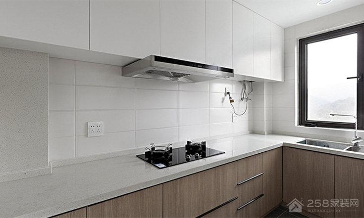 北欧风L型厨房石英石橱柜台面效果图