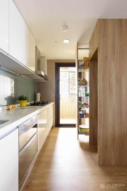 欧式风简洁大方一字型厨房装修效果图