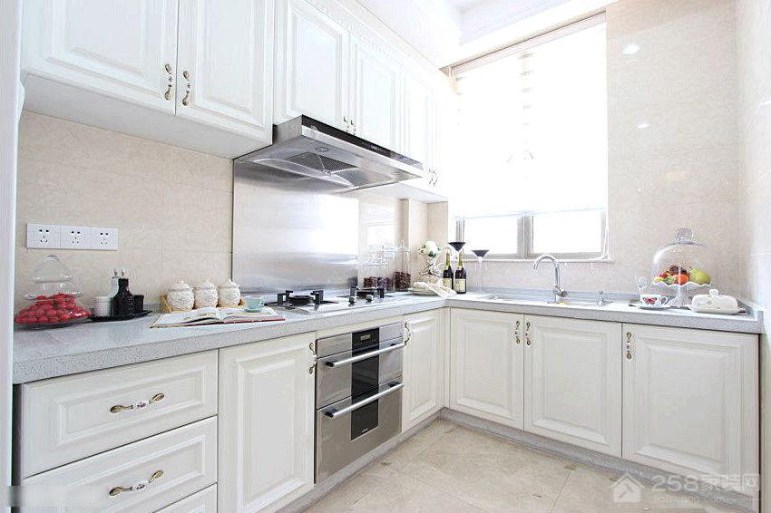 欧式L型厨房石英石橱柜台面效果图