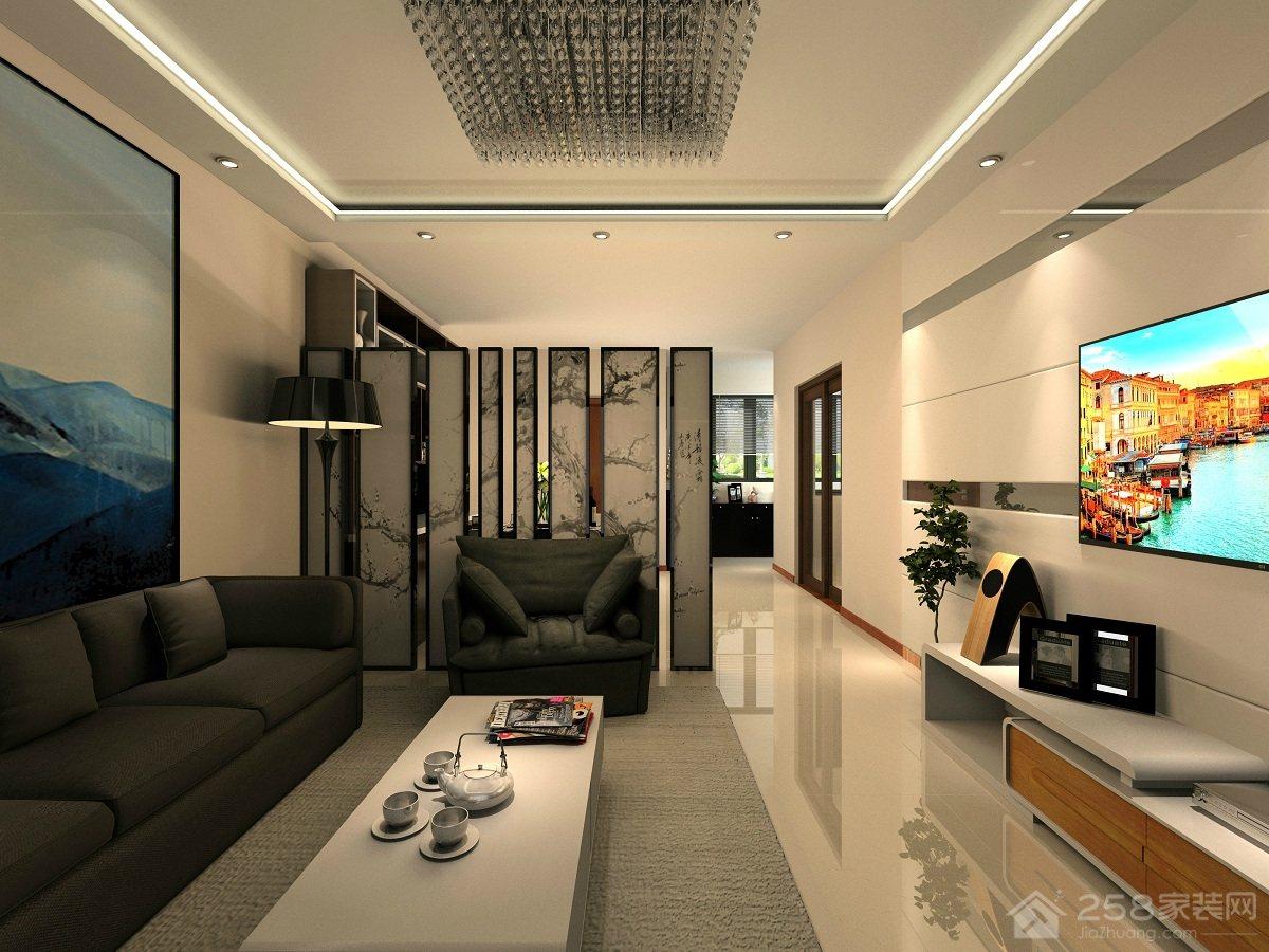 贵安新天地现代简约风格三居装修效果图
