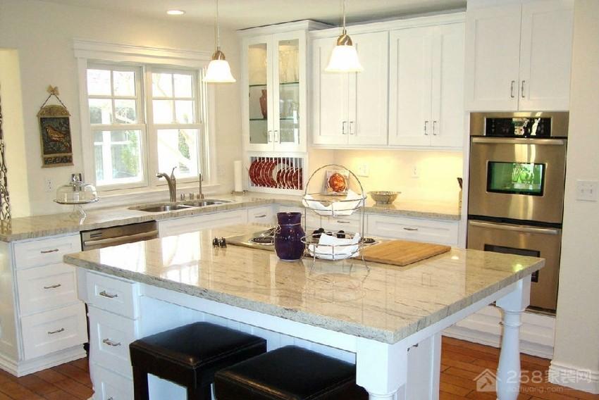 厨房灰色大理石橱柜台面效果图