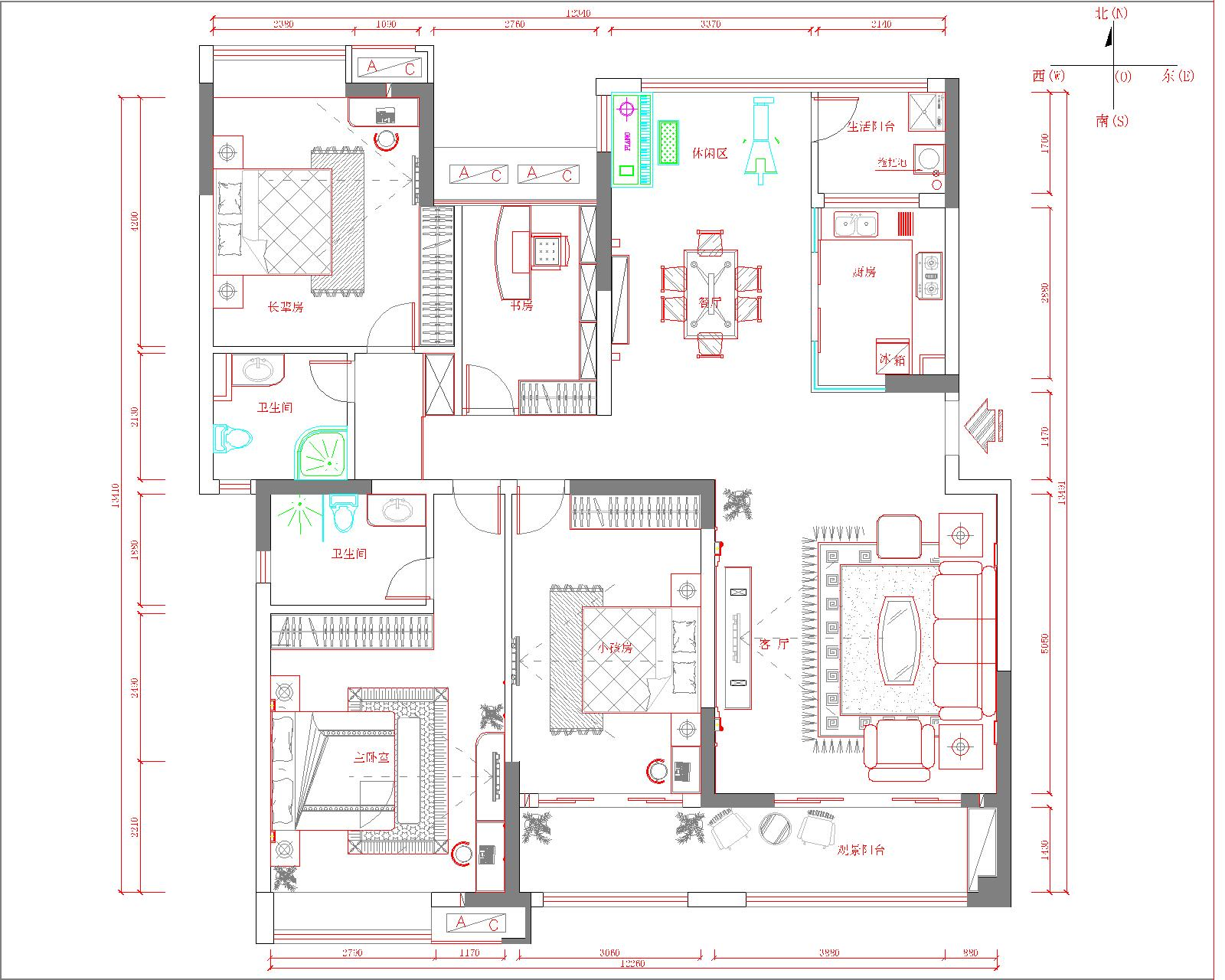 中海万锦欧式风格三居家装效果图