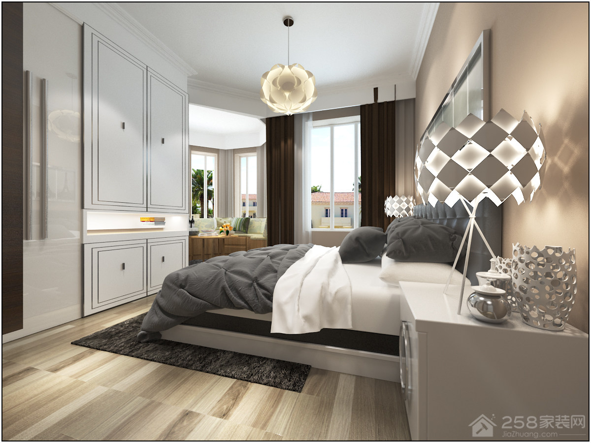 白金现代简约风格三居家装效果图