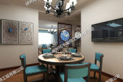 风尚米兰中式风格三居装修效果图