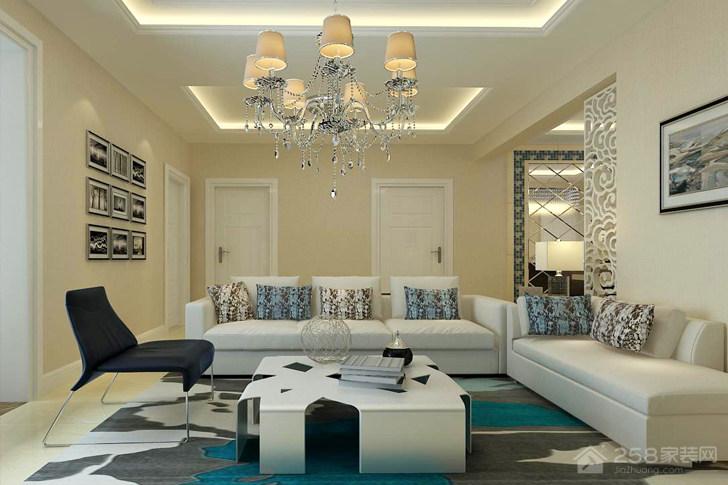 蔚蓝海岸现代简约风格三居家装效果图