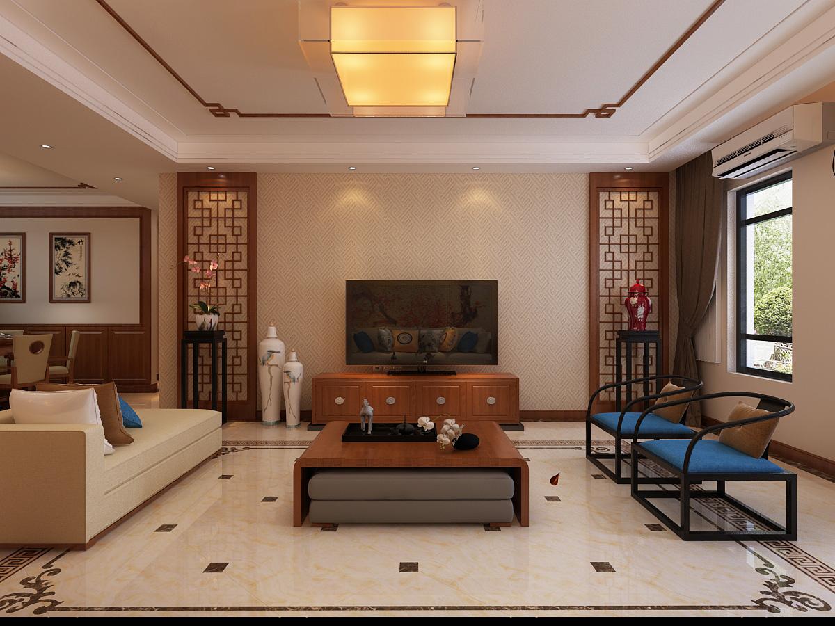 香槟国际城中式风格三居家装效果图