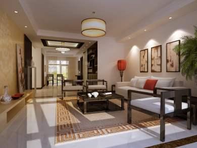 中海双湾锦园中式风格三居装修效果图