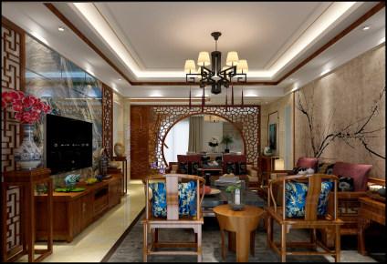 石楼莲花湾畔中式风格复式家装效果图