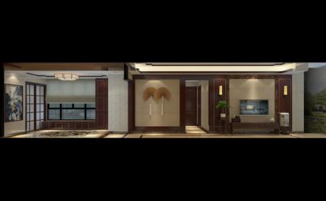 华南新城中式风格三居家装效果图