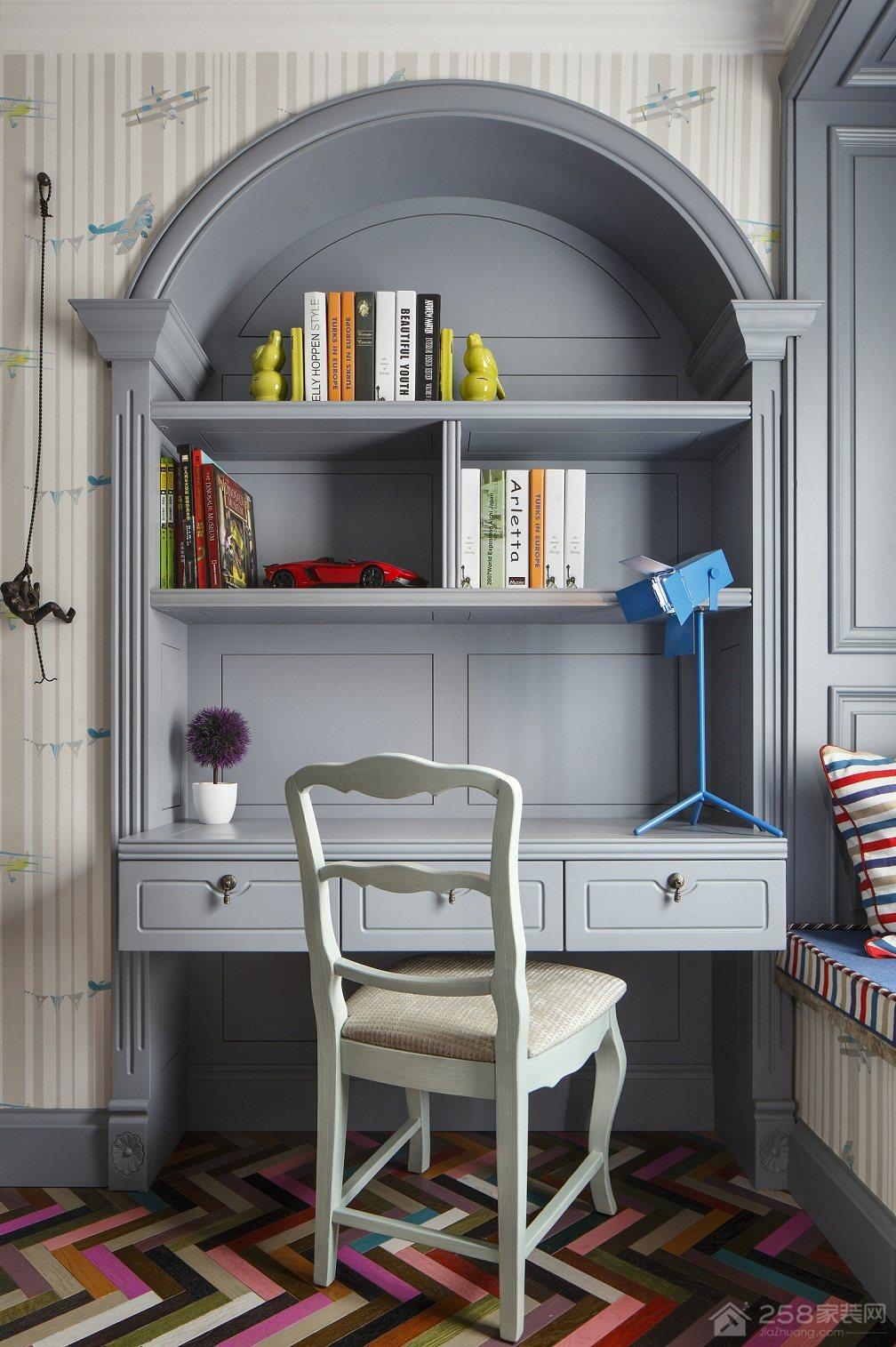 欧式儿童书桌书柜装修效果图