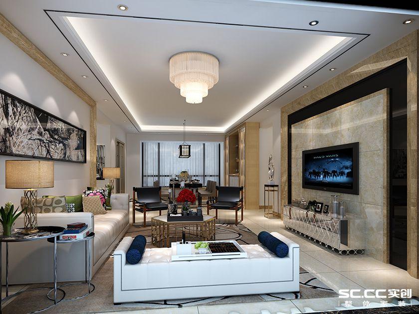 中海金沙湾现代简约风格四居装修效果图