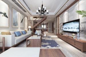东方不夜城中式风格复式家装效果图