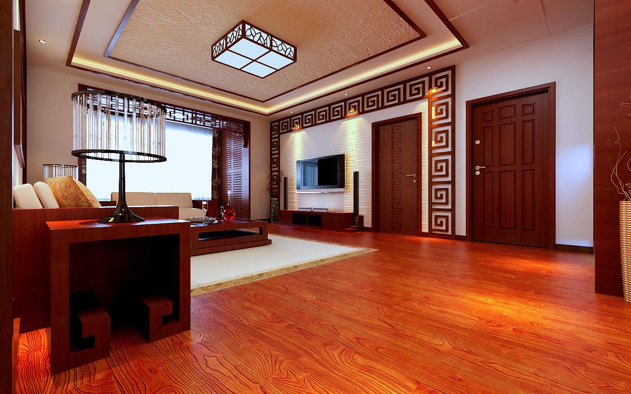 景瑞红翎台中式风格三居装修效果图