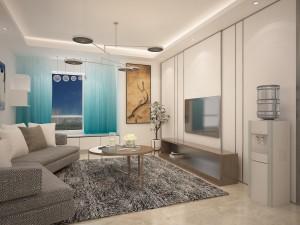万和蓝山现代简约风格二居家装效果图
