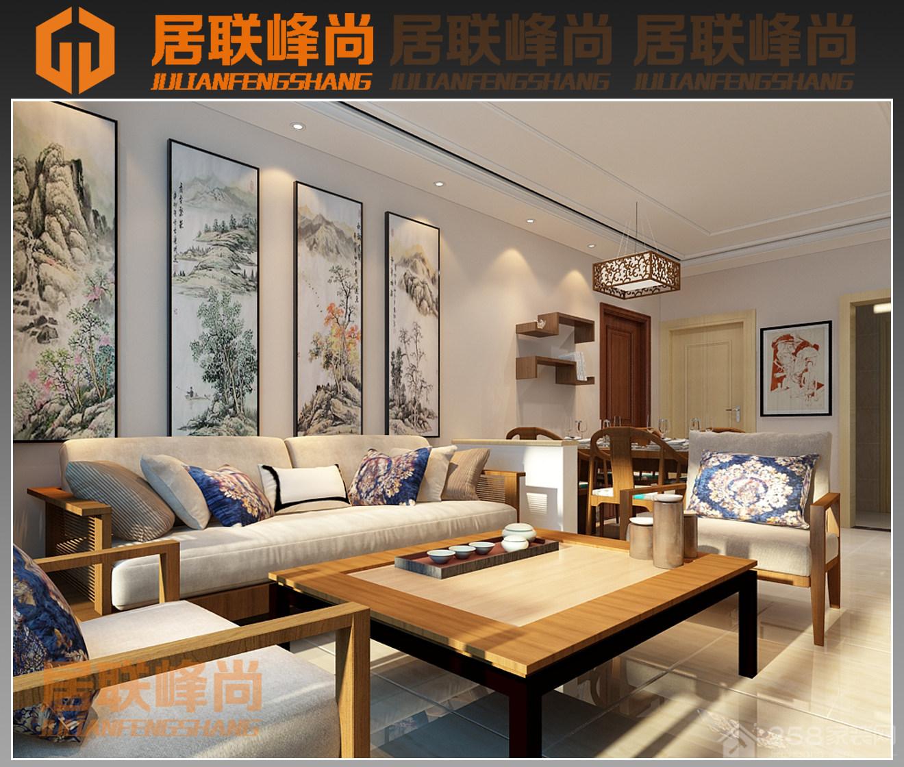 龙湖水晶郦城110平新中式家装效果图