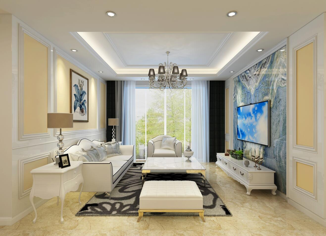 百合盛世二居欧式风格二居装修效果图