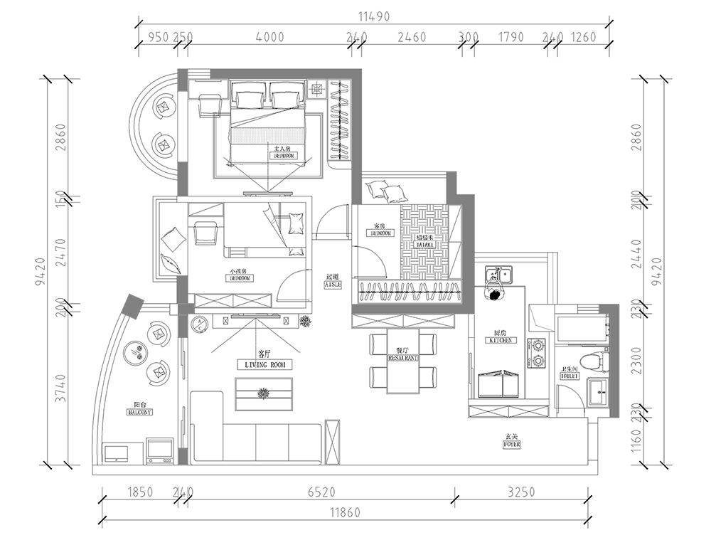 富力桃园现代简约风格三居家装效果图