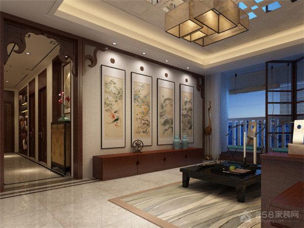 曲江公馆和园中式风格四居家装效果图