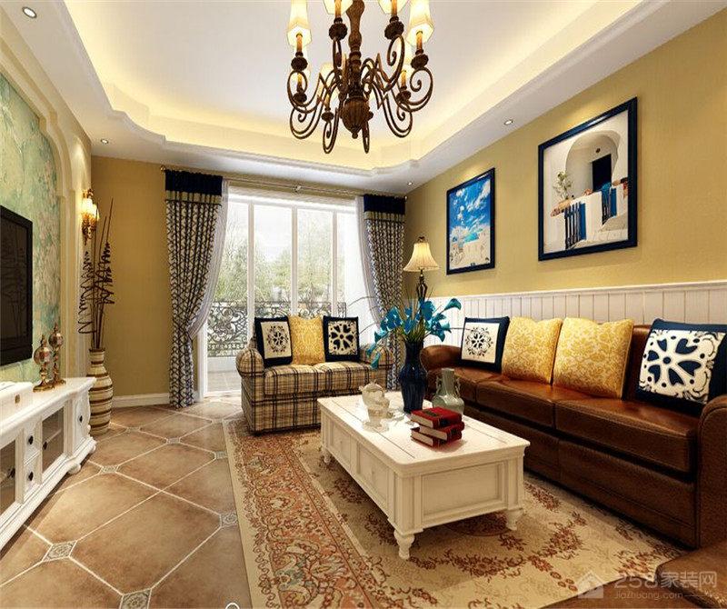 保利港湾国际 三室两厅 地中海装修效果图