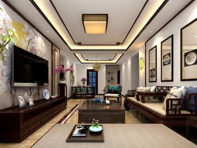 万科御龙山新中式风格三居装修效果图
