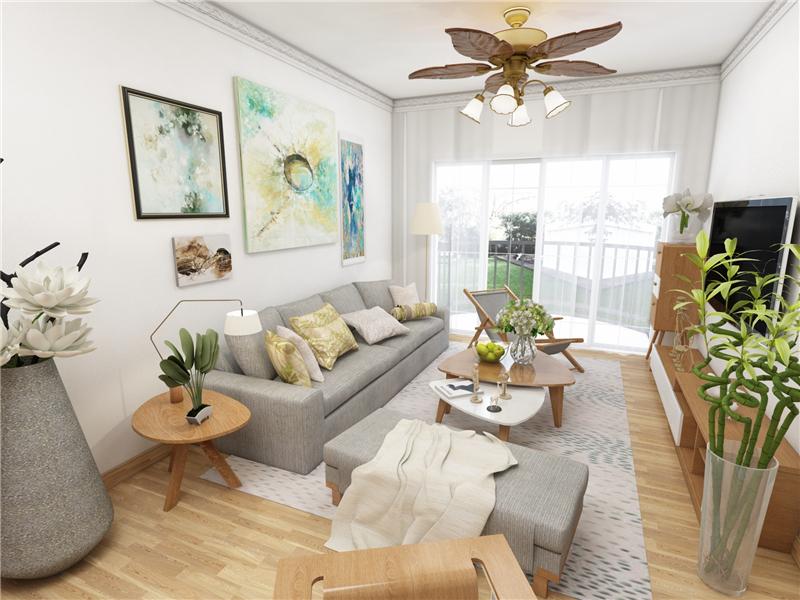 华远海蓝城北欧风格三居室家装效果图