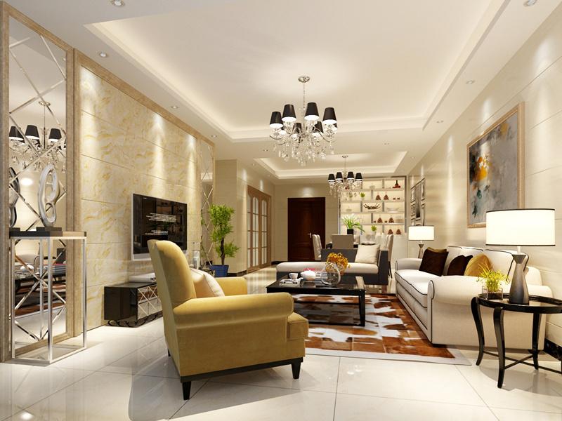 金地南湖艺境现代简约风格四居室家装效果图