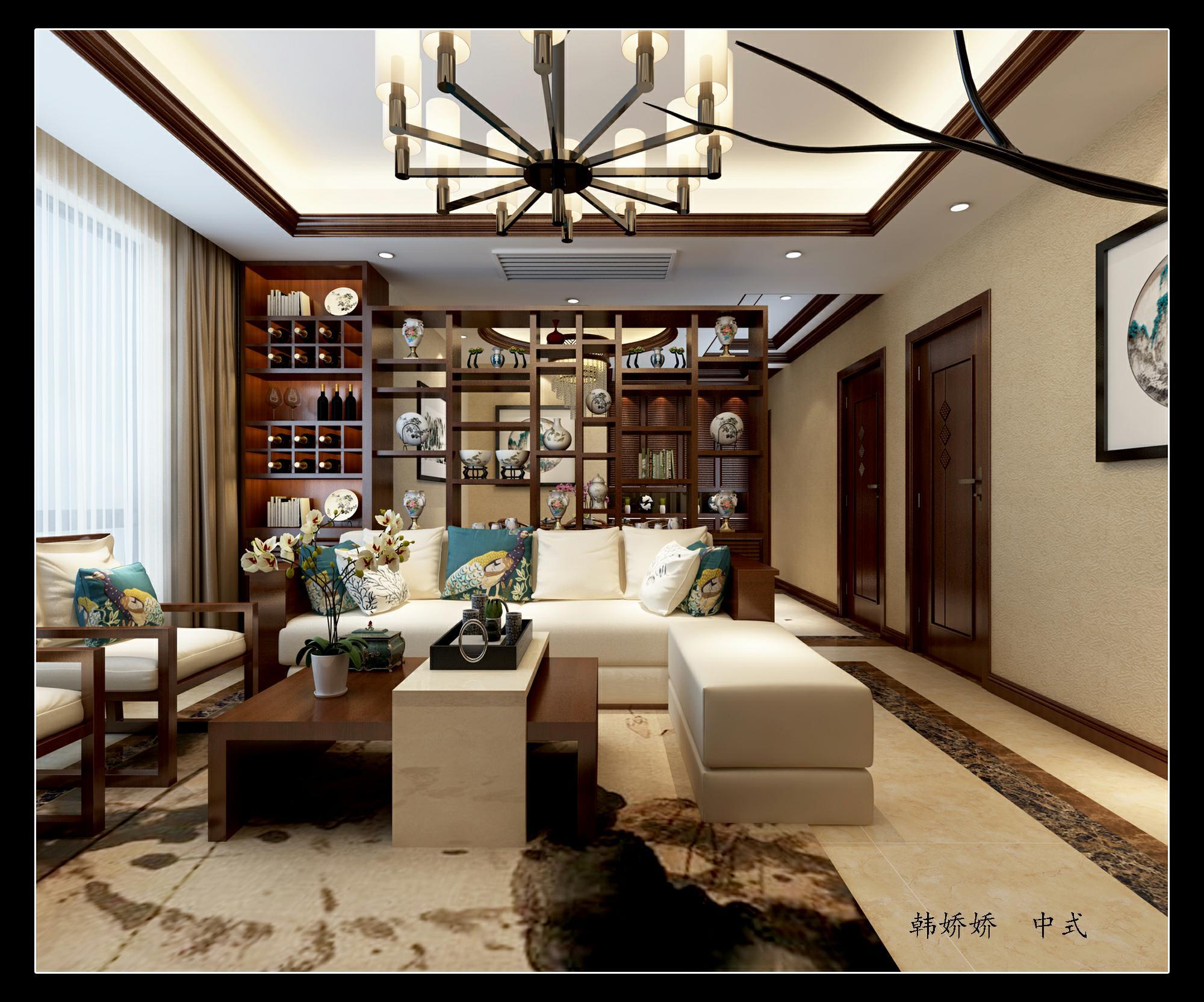 白桦林间138新中式风格装修效果图