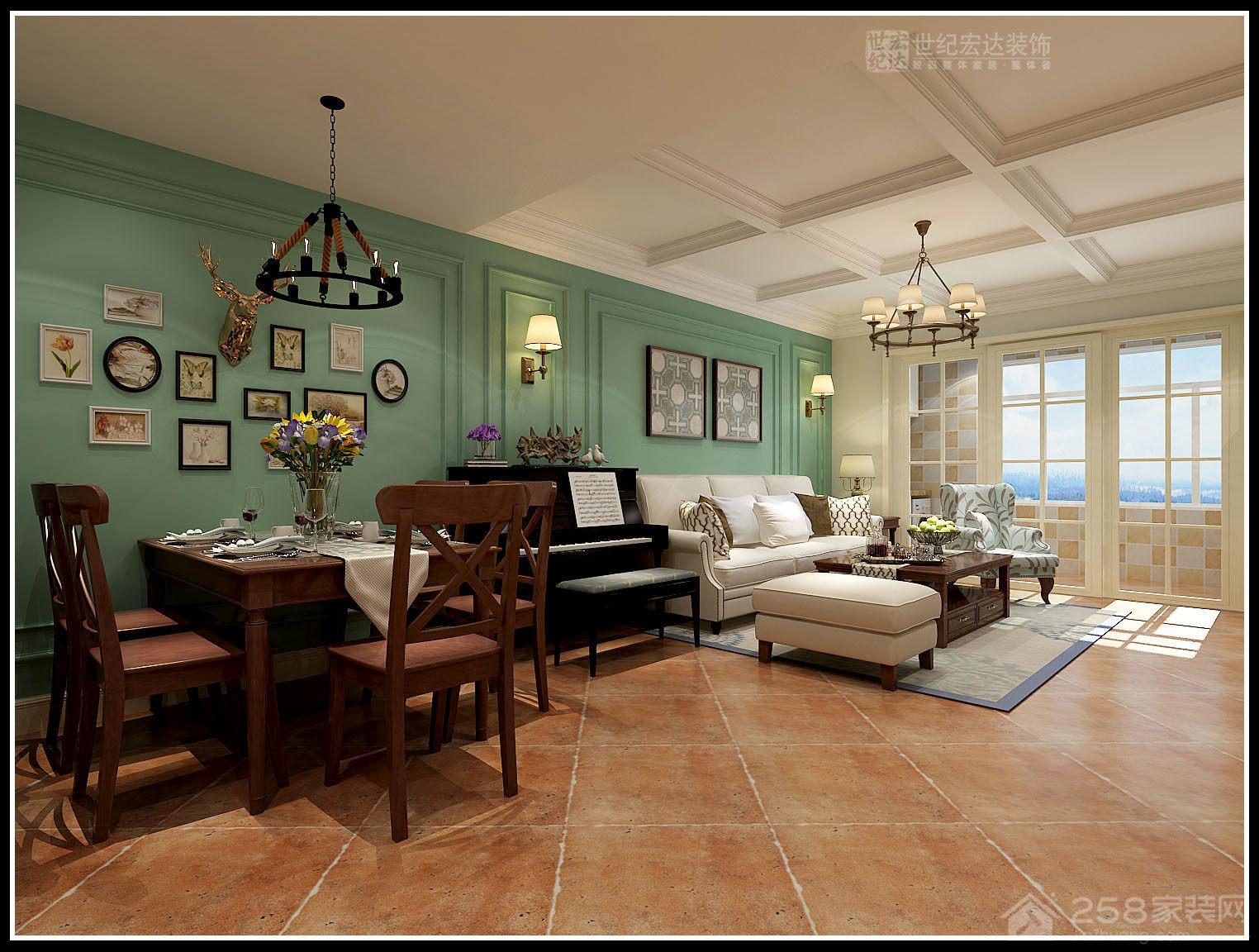 国熙台+三室两厅一厨一卫家装效果图