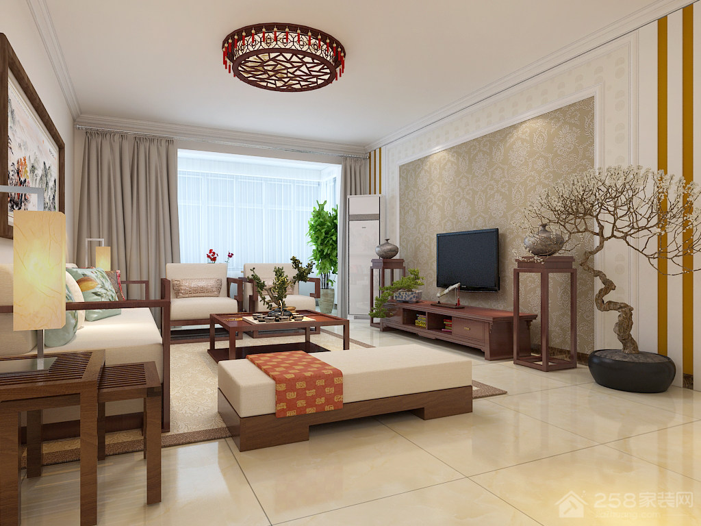龙腾国际140平三居室新中式风格装修效果图