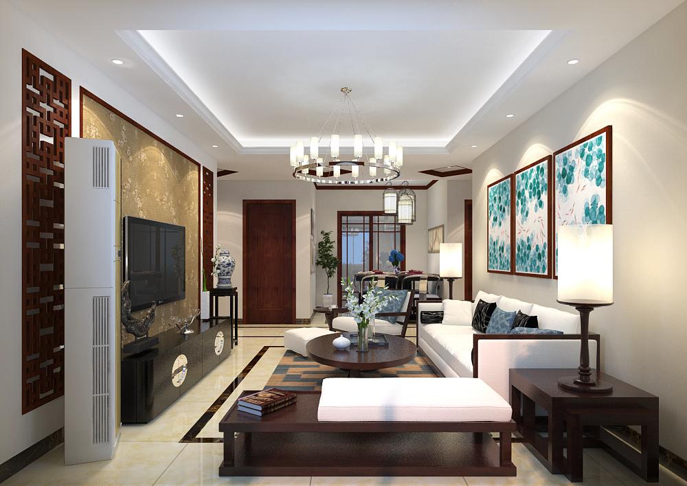 世茂天城129平三居室中式风格装修效果图